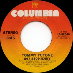 Tommy Tutone - Girl In The Back Seat / Am I Supposed To Lie